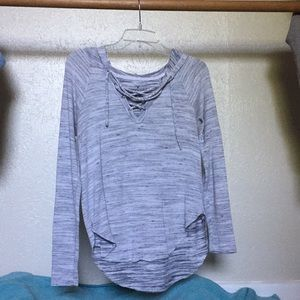 gray hooded long sleeve top